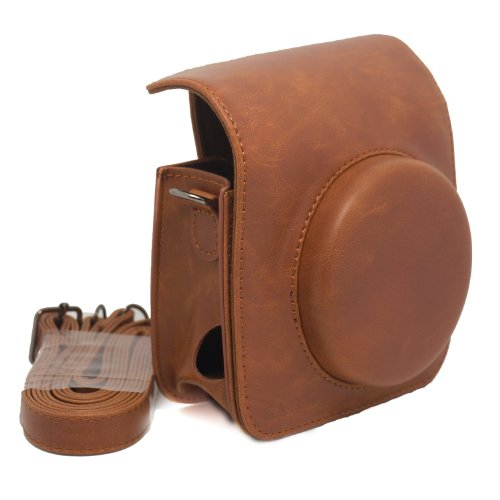 Vintga pu leather fuji mini case for fujifilm instax mini 90 case bag—-brown