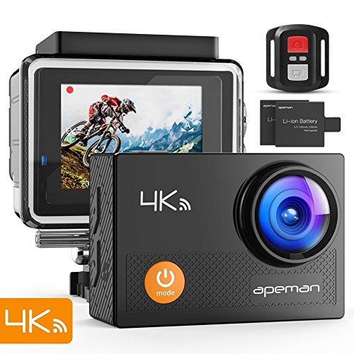 Camara deportiva 4k wifi 16mp impermeable cámara acción deporte acuatica agua de 30m vídeocámara deportiva con control remoto y 24 kits de montaje de accesorios
