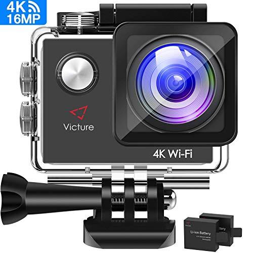 Camara deportiva 4k wifi 16mp impermeable cámara acción deporte acuatica agua de 30m pantalla lcd 2.0 inch 170 gran angular 2 baterías de 1050mah con múltiples accesorios kit