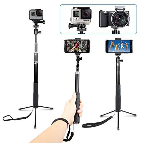 Palo de selfie extensible impermeable con soporte universal de mini trípode