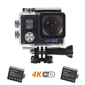 Cámara deportiva 4k cámara de acción wifi ultra hd 16mp sumergible hasta 30m pantalla dual amplio ángulo de visión 170